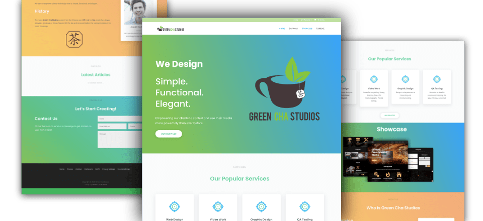 Web Design portfolio image of Green Cha Studios old
