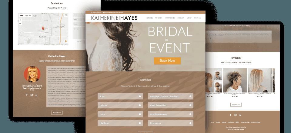 Web Design portfolio image of Katherine Hayes Hair