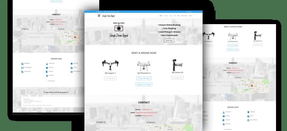 Web Design portfolio image of Simple Drone Rental
