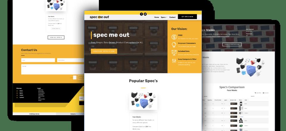Web Design portfolio image of Spec Me Out